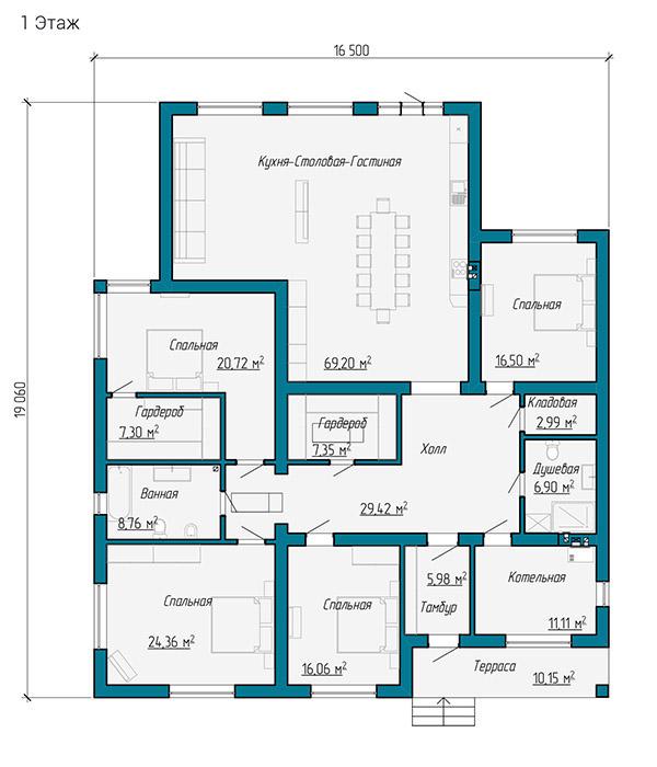 Планировка одноэтажного дома площадью больше 200 квадратных метров