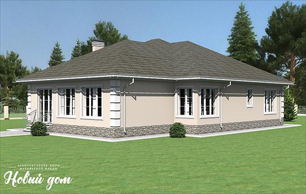 Проект большого одноэтажного дома из газобетона