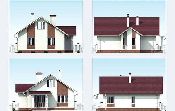 Фасады одноэтажного дома из газобетона