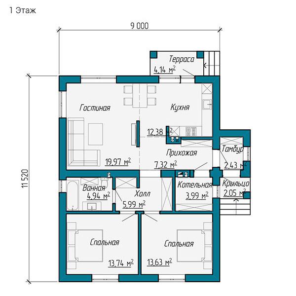 Планировка одноэтажного дома 9 на 11 метров