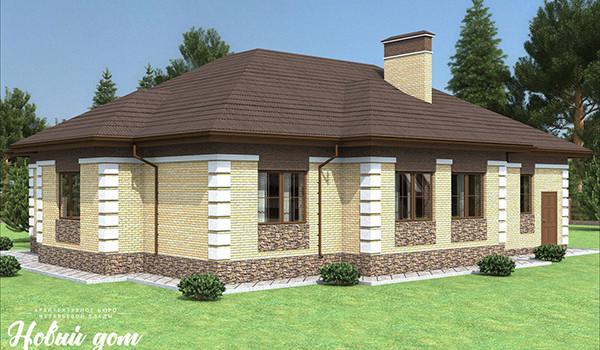 044. Проект одноэтажного коттеджа с гаражом