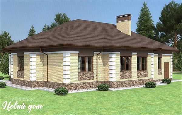 Проект небольшого одноэтажного дома из блоков KAIMAN