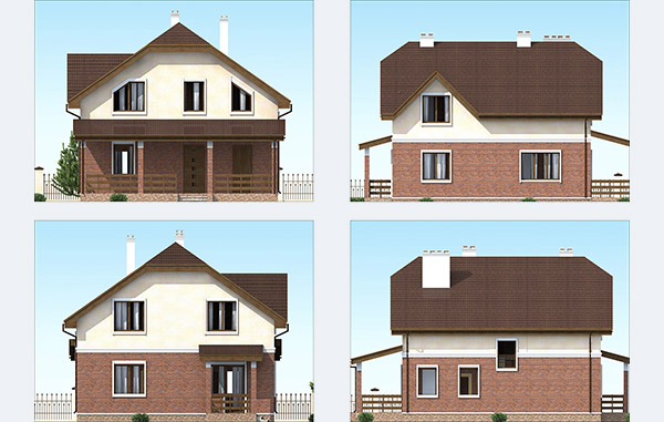 Фасады двухэтажного дома из облицовочного кирпича