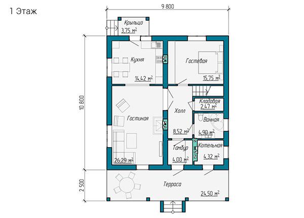 Планировка первого этажа двухэтажного коттеджа 10 на 11 метров