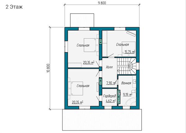 Планировка второго этажа двухэтажного коттеджа 10 на 11 метров