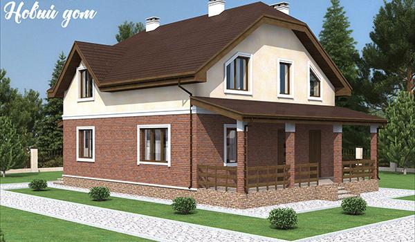 050. Проект двухэтажного частного дома с террасой