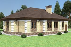 Одноэтажный коттедж с гаражом