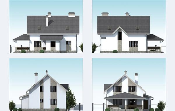 Фасады проекта дома в серых тонах