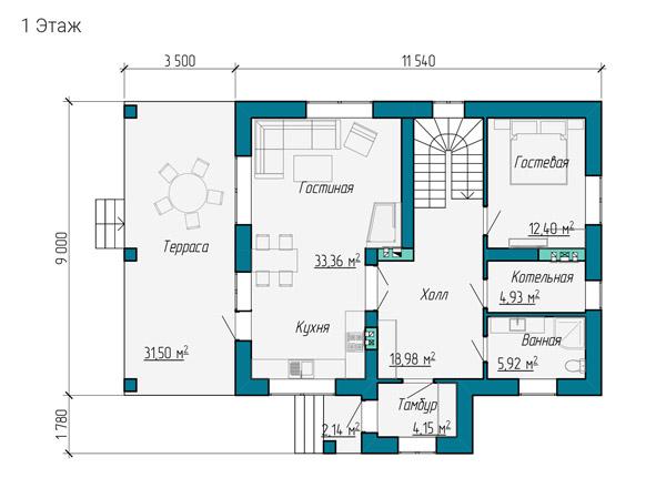 Первый этаж разработанного проекта дома 9 на 11 метров