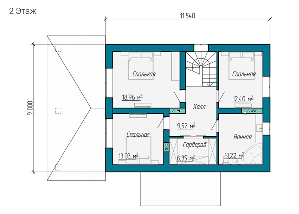 Второй этаж разработанного проекта дома 11 на 9 метров
