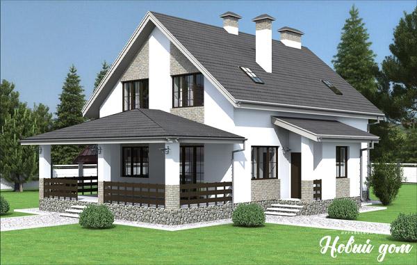 Проект дома с мансардой в серых тонах