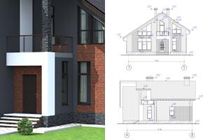Разработка внешнего вида двухэтажного дома