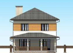 Дворовой фасад. Двухэтажный коттедж с пристроенным гаражом