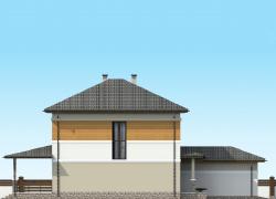 Боковой фасад. Двухэтажный коттедж с пристроенным гаражом